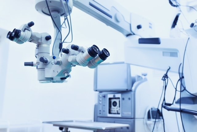 ophthalmology operation room. surgery background. surgical microscope